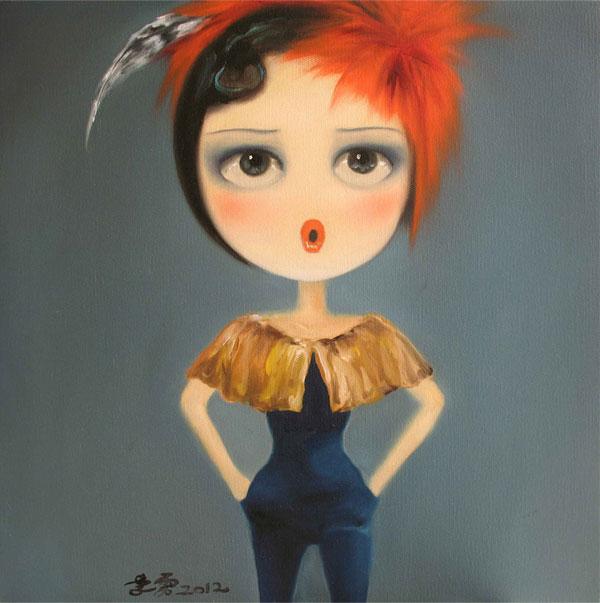 现代油画家 李雳 变形时尚 卡通人物《合欢》
